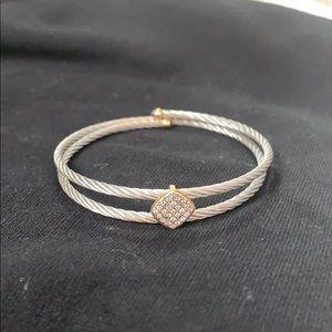 Charriol Diamond pave rhombus cable bracelet
